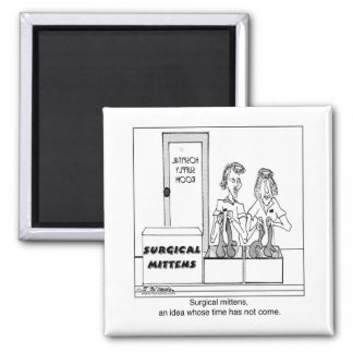 Surgical Mittens Hospital Cartoon Square Magnet