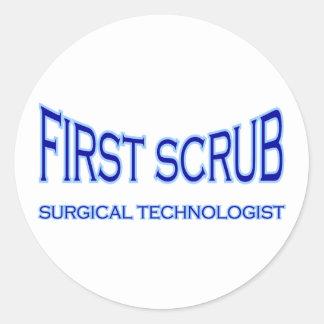 Surgical Technologist - First Scrub (blue) Round Sticker