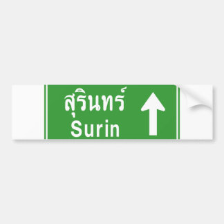 Surin Ahead ⚠ Thai Highway Traffic Sign ⚠ Bumper Sticker