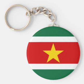 Suriname flag basic round button key ring
