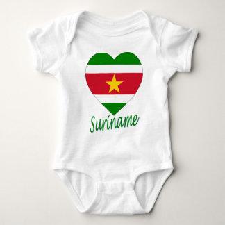 Suriname Flag Heart Baby Bodysuit