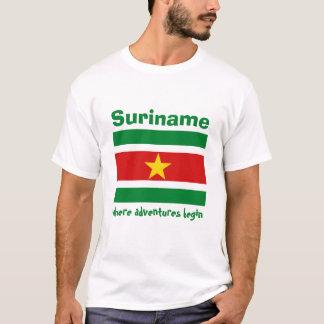 Suriname Flag + Map + Text T-Shirt