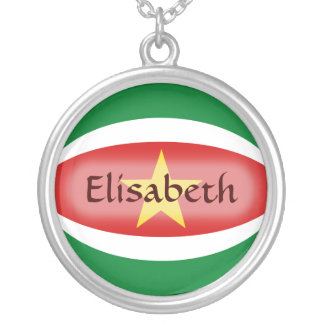 Suriname Flag + Name Necklace