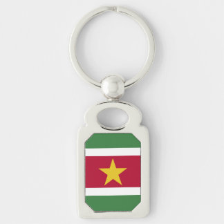 Suriname Flag Silver-Colored Rectangle Key Ring