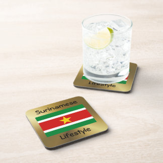 Suriname Flag+Text Coaster