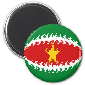 Suriname Gnarly Flag 6 Cm Round Magnet