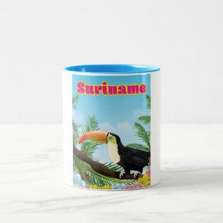 Suriname South american paradise travel poster Two-Tone Coffee Mug
