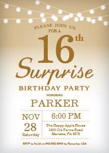 Surprise 16th Birthday Invitation Gold