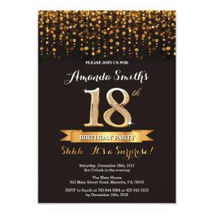 Surprise 18th Birthday Invitation Black And Gold