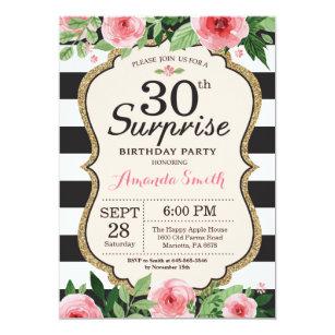 Black and white 30th birthday invitations zazzle uk surprise 30th birthday invitation women floral filmwisefo