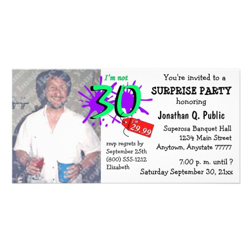 Surprise 30th Birthday Party Photo Invitation Customized Photo Card