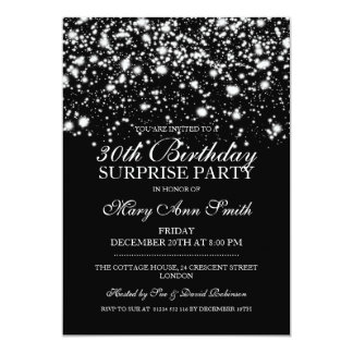 Surprise 30th Birthday Party Silver Midnight Glam Card