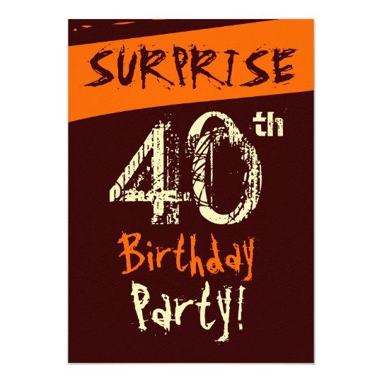 SURPRISE 40th Birthday Chocolate Cream Orange Card