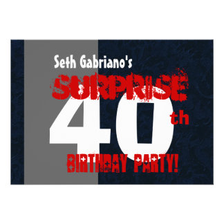 SURPRISE 40th Birthday Modern Red Gray Black W566C Personalized Invite