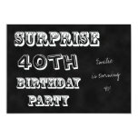 Surprise 40th Birthday Party Invitation Chalkboard