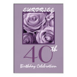 SURPRISE 40th Birthday Party Invite Purple Roses