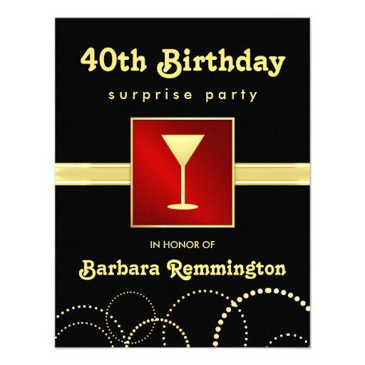 Surprise 40th Birthday Red Black Gold Invitations