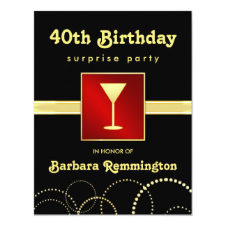 Surprise 40th Birthday Red Black Gold Invitations