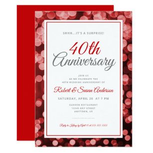 Surprise 40th Wedding Anniversary Red Bokeh Invitation
