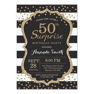 Black white 50th birthday party invitations announcements zazzle surprise 50th birthday invitation gold glitter card filmwisefo Gallery