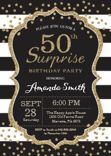 Surprise 50th Birthday Invitation Gold Glitter