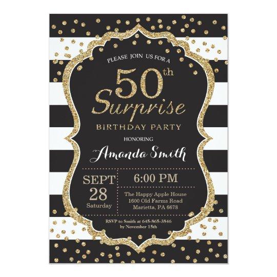 Surprise 50th Birthday Invitation Gold Glitter Invitation Zazzle