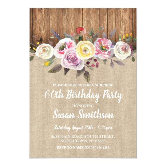 SURPRISE 60th & Any Age Birthday Party Wood Invite