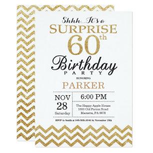 Surprise 60th birthday invitations announcements zazzle uk surprise 60th birthday invitation gold glitter filmwisefo