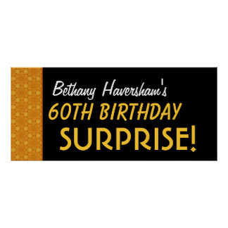 Surprise 60th Birthday or Any Year Gold Pattern Poster