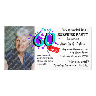 Surprise 60th Birthday Party Photo Invitation Customised Photo Card