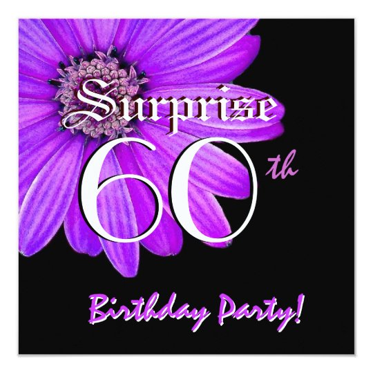 SURPRISE 60th Birthday Party Purple Daisy F201A Card