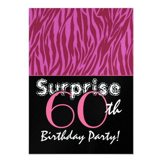 SURPRISE 60th Birthday Pink and Burgundy Zebra Card