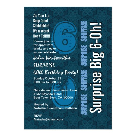 SURPRISE 60th Modern Birthday Blue Stars and White Card