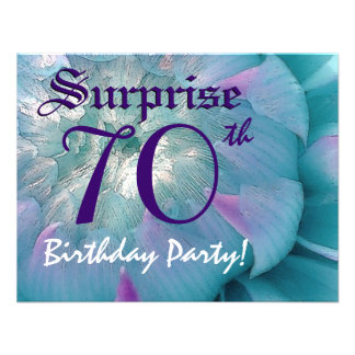 SURPRISE 70th Birthday Blue and Purple Dahlia S001 Personalized Invites