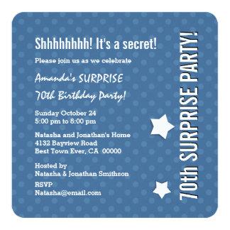 SURPRISE 70th Birthday BLUE Polka Dots V02 13 Cm X 13 Cm Square Invitation Card