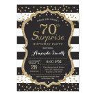 Surprise 70th Birthday Invitation. Gold Glitter Card