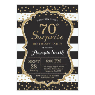 Surprise 70th Birthday Invitation. Gold Glitter Card