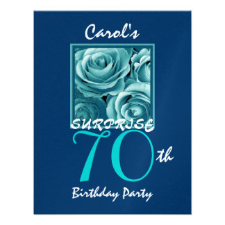 SURPRISE 70th Birthday Party Blue Roses S513 Personalized Announcement