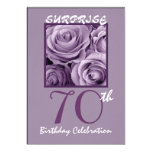 SURPRISE 70th Birthday Party Invite Purple Roses 13 Cm X 18 Cm Invitation Card