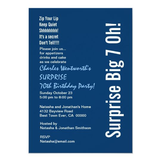 SURPRISE 70th Birthday Party Modern Blue and White Card