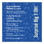 SURPRISE 70th Birthday Party Modern Blue Confetti 13 Cm X 13 Cm Square Invitation Card