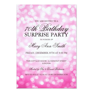 Surprise 70th Birthday Party Pink Glitter Lights Card