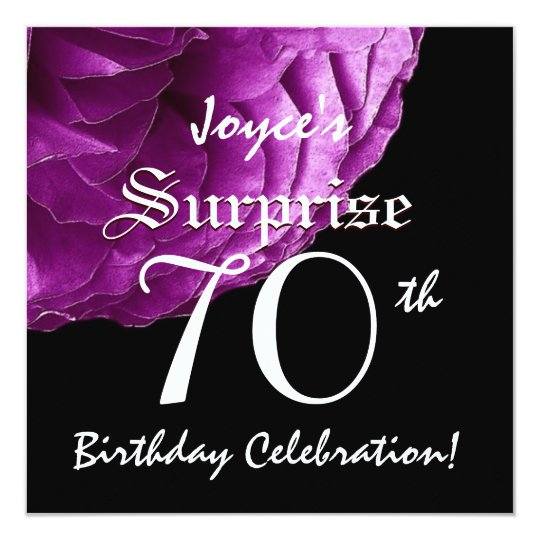 SURPRISE 70th Birthday Party Purple Rose W067 Card