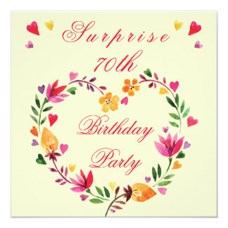 Surprise 70th Birthday Watercolor Floral Heart Card