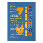SURPRISE 70th Modern Birthday Blue Gold Yellow Custom Announcement