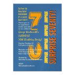 SURPRISE 70th Modern Birthday Blue Gold Yellow 13 Cm X 18 Cm Invitation Card
