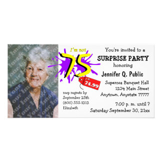 Surprise 75th Birthday Party Photo Invitation Customized Photo Card