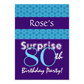 "SURPRISE 80th Birthday Blue Purple Stars T556 5"" X 7"" Invitation Card"