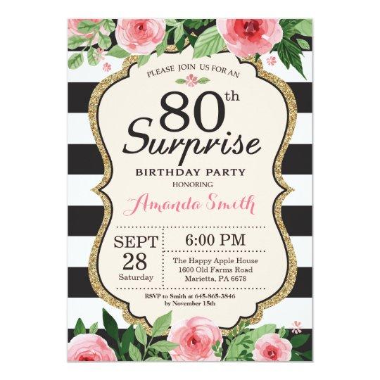 Surprise 80th Birthday Invitation Women Floral