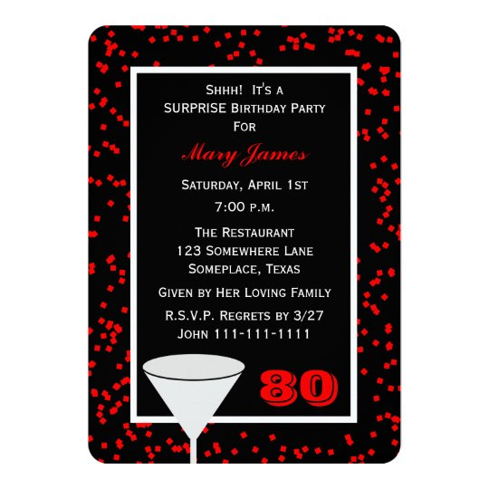 Surprise 80th Birthday Party Glass with Confetti Card